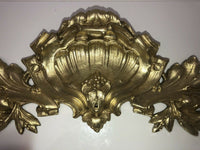Antique French Ormolu Baroque Shell Pediment Cabinet Furniture Frame Mount 17""