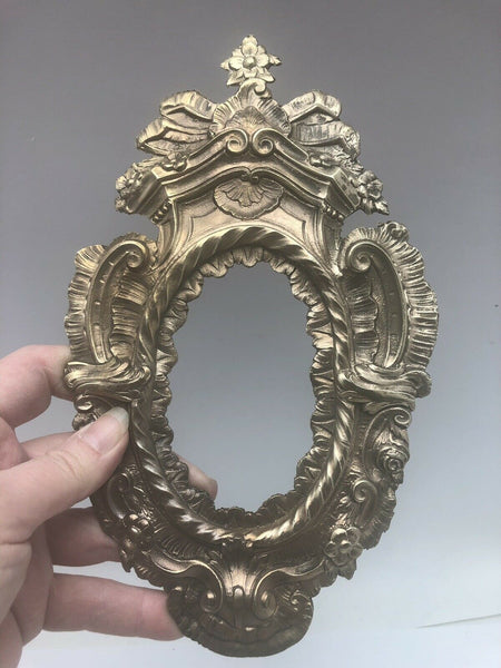 Antique French Oval Frame Bronze Furniture Wall Mount