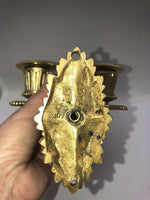 Antique French Bronze Dore Dual Candle Empire Regency Wall Sconce
