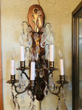 Antique Pair French Brass Crystal Sconces Refitted 20th C