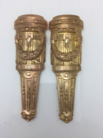 Pair Antique French Pillar Column Ormolu Cabinet Furniture Mounts Original 8""