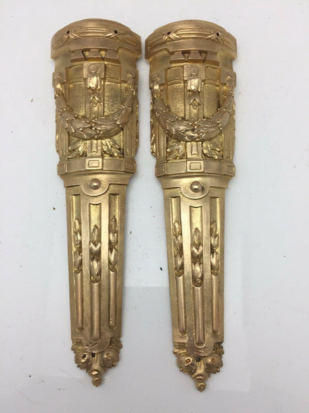 Pair Antique French Pillar Column Ormolu Cabinet Furniture Mounts Original 9""