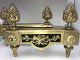 Antique French Early Louis XVI Empire Bronze Dore Fireplace Andirons