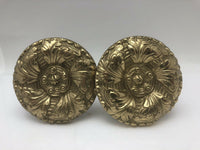 "Vintage French Pair Round Solid Bronze Brass Curtain Mount Tie Backs 3 1/2"" D"