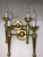 Vintage Pair Polished Bronze Empire Dual Light Candle wall Sconces