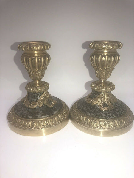 Antique Pair French Ormolu Marble Bronze Regency Candlesticks