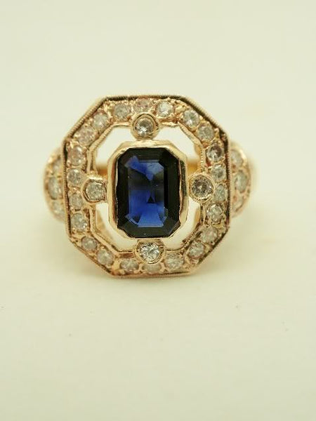 14k Antique Sapphire and Diamond Ring