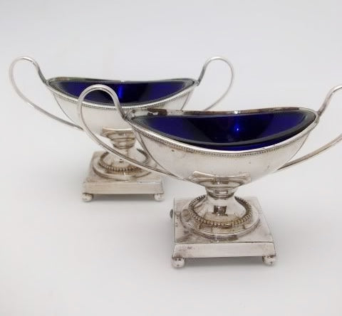 Antique Pair English Sheffield Silver Salts