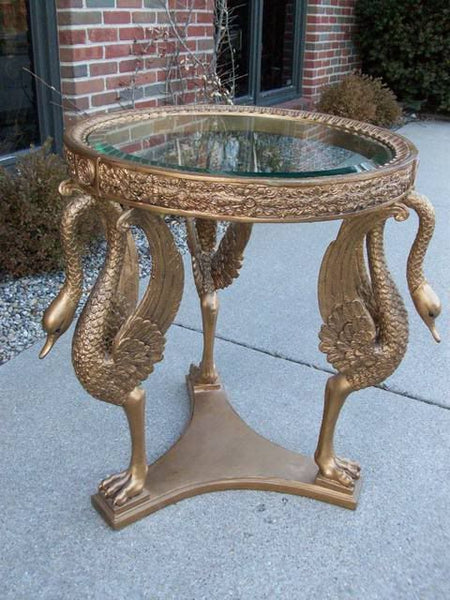 French Empire Cast Metal Gold Gilt Swans Table