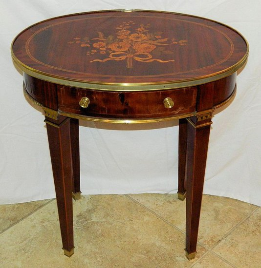 Antique French Oval Marquetry Tea Table