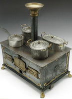 Antique German Toy Tin and Brass Stove