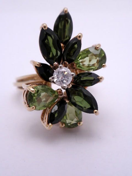 18K Tourmaline, Peridot, & Diamond Ring