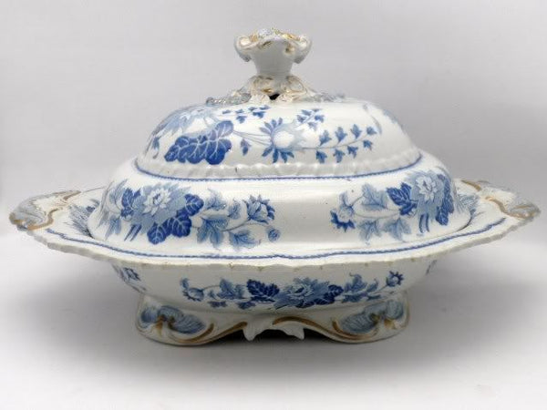 English Antique Gilt Tureen Blue White C 1860
