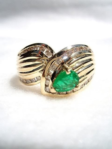 14k Emerald and Diamond Wrap Ring