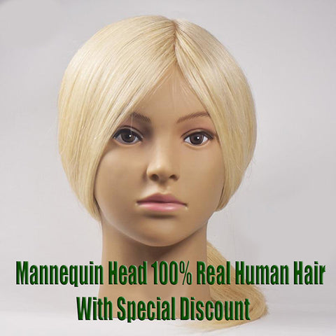 Mannequin Head 100% Real Human Hair Blonde Color