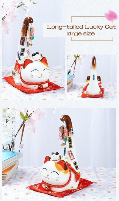Japanese Style Ceramic Maneki Neko Lucky Cat Long Tail Cat Statue Feng Shui  & Home Decoration