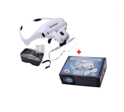 Headband Led Magnifying Glass - 5 Lens Loupe Eyewear Magnifier With Led Lights
