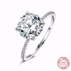 Real Solid 925 Sterling Silver Ring - 3Ct Hearts Arrows Zircon Wedding Jewelry Rings Engagement For Women