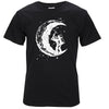 Mens Graphic T-Shirts Digging The Moon Print 100% Cotton O-neck Short Sleeve T-Shirts