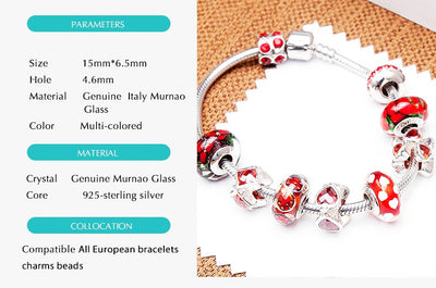 Red Hot Genuine Murano Glass Bead 925 Silver Core 18KT Gold Foil - Fit All European Bracelets and Necklace