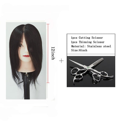 100% Human Hair Mannequin Head Short Black Hair Hairdressing Practice Head