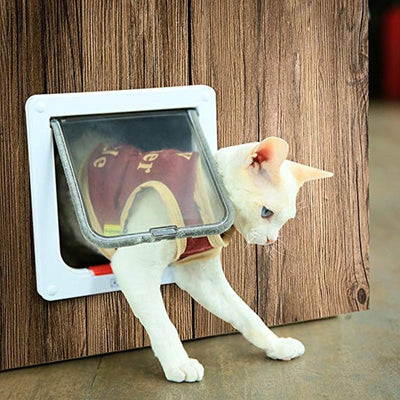 Cat Flap Door with 4 Way Lock Security Flap Door for Cat & Dog