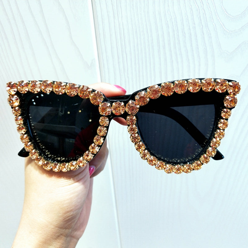 Black Bling Cat Eye Sunglasses - Women Oversized Rhinestone Sunglasses