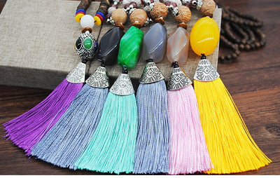 Handmade Stone & Wooden Beads Tassel Necklace