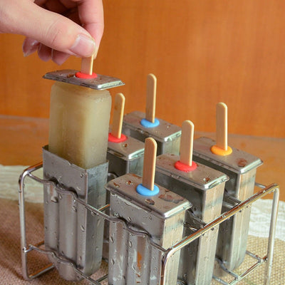 Stainless Steel Popsicle Mold - Ice Cream Mold with Popsicle Holder Rack Homemade Ice Pop Maker
