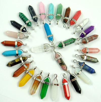 Natural Stone Charm Pendants for DIY Jewelry Making Necklaces 24 pcs/set