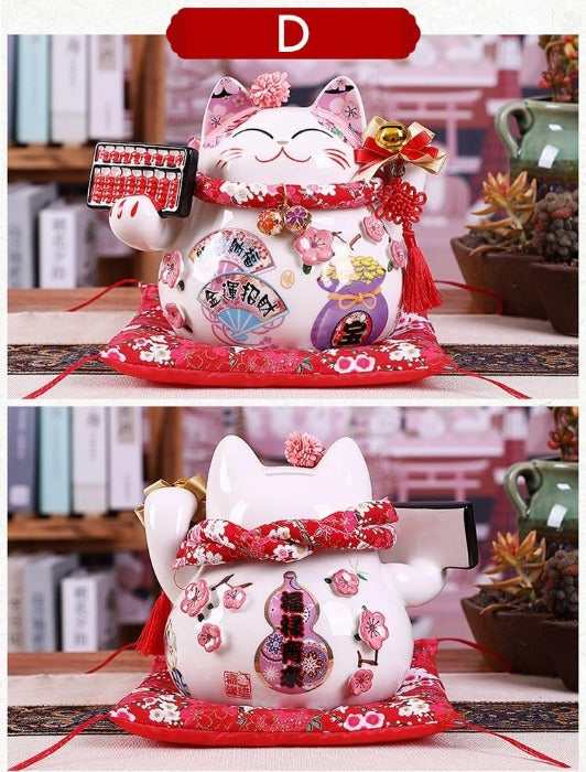9 inch Ceramic Maneki Neko Lucky Cat Home Decoration & Piggy Bank