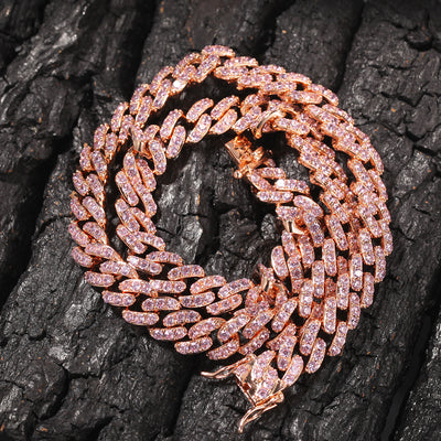 Women Iced Out Choker Necklace 9mm - Rose Gold Cuban Link Chain With Pink Cubic Zirconia