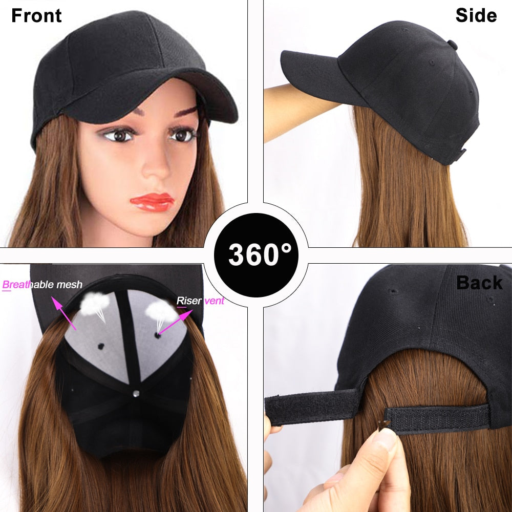 Baseball Cap With Hair Wig - Long Synthetic Wave Wig Hat