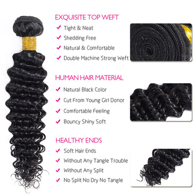 Brazilian Human Hair Weave Bundles Deep Wave Bundles With Closure Non Remy Hair Extensions