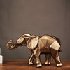 Abstract Geometric Gold Elephant Statue - Resin Ornaments Sculpture Home Decoration Crafts