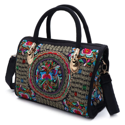 Women Canvas Floral Embroidered Handbag Ethnic Boho Zipper Bag