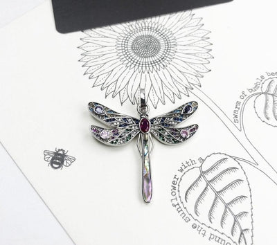 Amazing Beauty Dragonfly Pendant 925 Sterling Silver CZ Jewelry