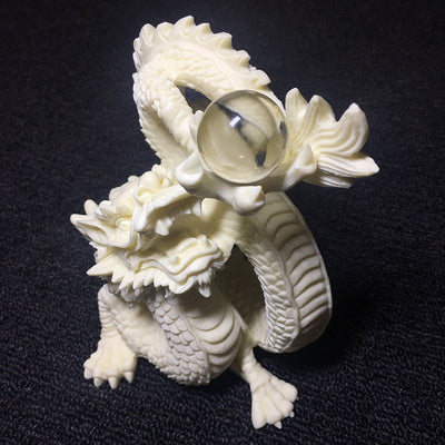White Lucky Dragon Statue - Hand Carved Dragon Play Bead Sculpture
