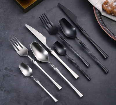24 Pcs Unique Cutlery Set - 304 Stainless Steel Flatware Set