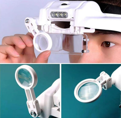 Headband Magnifier Multi-functional Led Magnifying Glass With 5 Replaceable Lenses