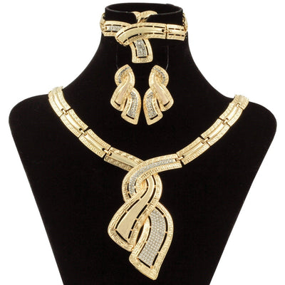Fashion African Gold Plated Jewelry Sets Crystal Necklace Bracelet Hoop Earrings & Ring
