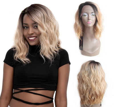 Synthetic Lace Front Wigs Ombre Natural Wave Short Bob Wigs