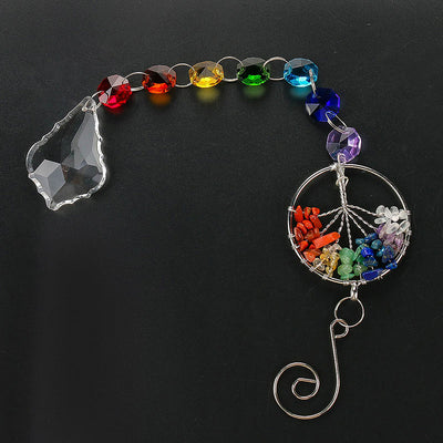The Tree of Life Crystal Prism Ball Suncatcher - Chandelier Decor  Window Hanging Ornament
