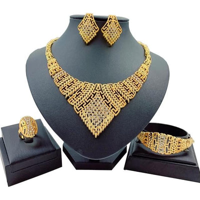 African Jewelry Sets Big Necklace Bracelet Crystal Earrings & Ring