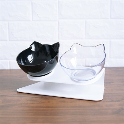 Non-slip Cat Food Bowl  Double Pet Bowls With Raised Stand