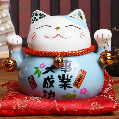 4.5 inch Maneki Neko Porcelain Lucky Cat Home Decor Ornaments Feng Shui Craft