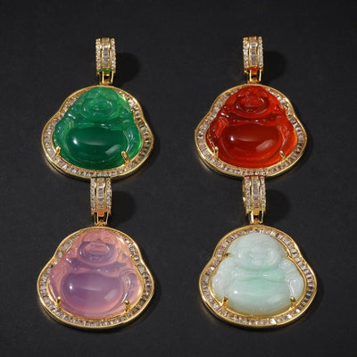 Natural Agate Buddha Pendant Necklaces For Women And Men - Rope & Cuban Link Chain Necklace