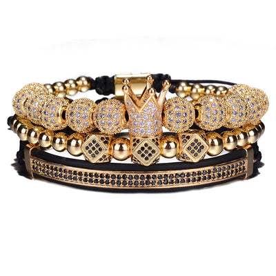 3pcs/Set Hip Hop Crown Charm Braided Bracelet 8MM Micro Pave CZ Ball For Women & Men