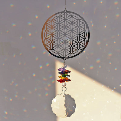 Flower of Life Crystal Suncatcher Rainbow Window Hanging Ornament