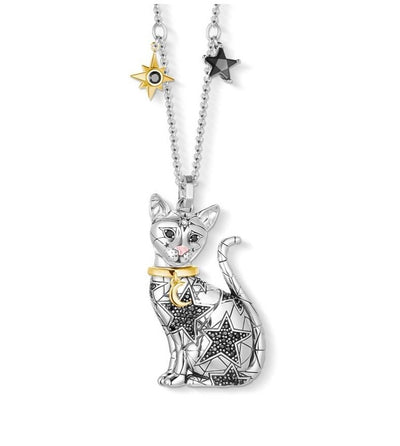 Magic Cat Pendant Necklace 925 Sterling Silver Link Chain For Cat Lovers